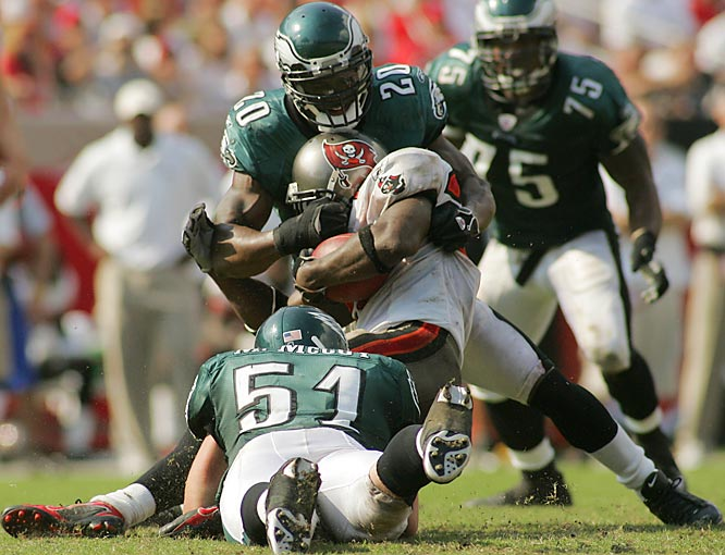 Dawkins is a human missile and has made several game-altering hits for the Eagles. His stunning blow to Michael Vick in the 2002 playoffs helped seal a win over the Falcons.