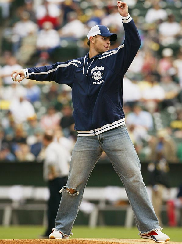 Roddick has been featured in non-sports publications ranging from Rolling Stone to Vogue. In 2003 he was named Sexiest Athlete in People's Sexiest Man Alive issue. He has thrown out the first pitch at several Major League Baseball games, including Game 2 of 2003 Oakland-Boston playoff series, and became the second tennis player (along with Chris Evert) to host Saturday Night Live (Nov. 8, 2003).