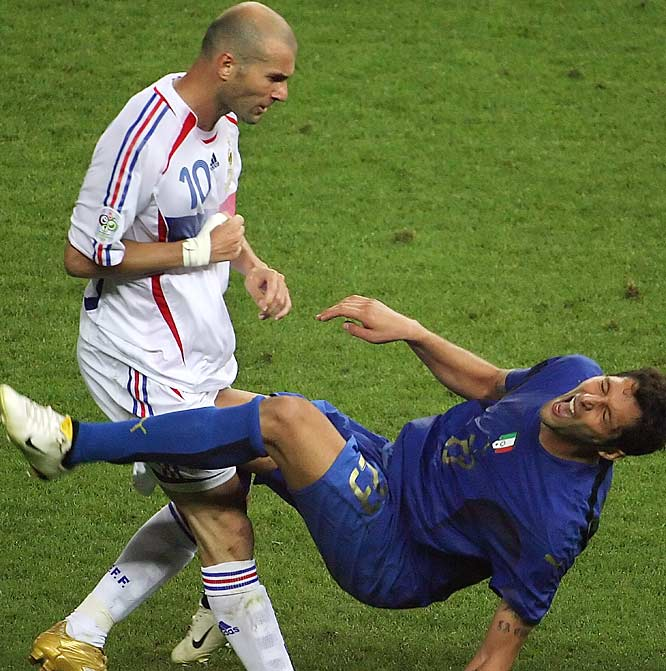 Zinedine Zidane's forehead.