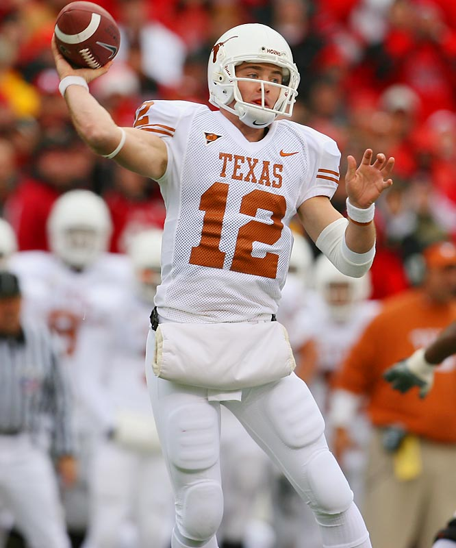 A question mark going into last season, McCoy easily led the Big 12 in passing efficiency (161.8). Texas fans will never forget Vince Young, but McCoy's instant production helped temper the loss.