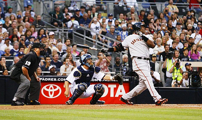 Bonds following through on his record-tying 755th home run.