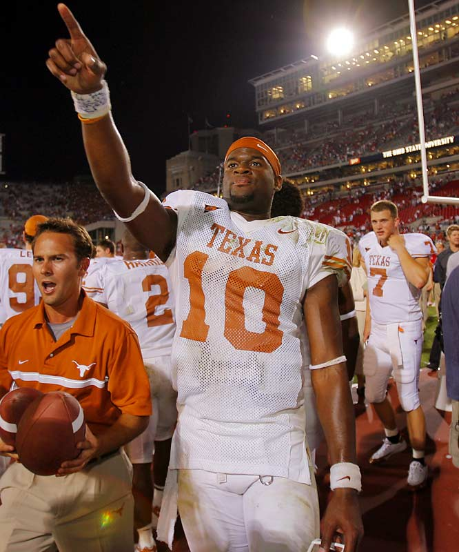 Many consider Young to be the most athletic quarterback in college football history. His 6,040 career passing yards, 3,127 rushing yards and 81 career TDs help bolster that point. Young, who played three seasons for the Longhorns, put forth one of the greatest individual performances in NCAA history  in the 2005 national championship game against undefeated USC when he gained over 450 total yards and scored the game-winning touchdown while leading the Longhorns to victory.