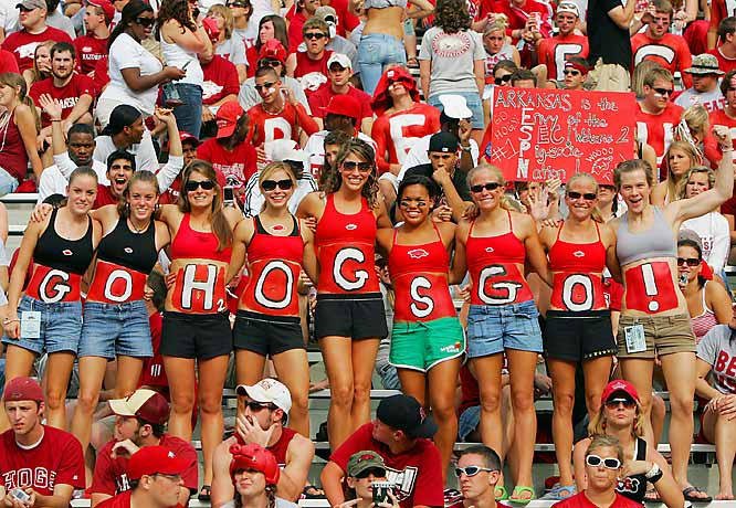 The ladies of Arkansas showed their love for the Razorbacks during a September game against USC.