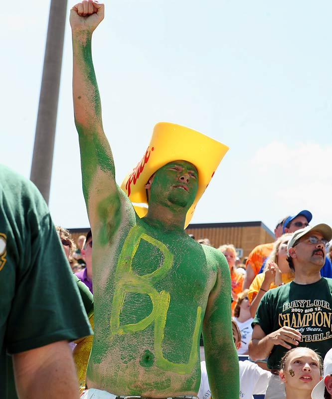 A Baylor fan proudly wore the Bears' colors during a Women's College World Series game against Texas A&M.