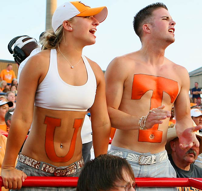 These Tennessee fans cheered on the Vols during Game 1 of the Women's College World Series Championship against Arizona.