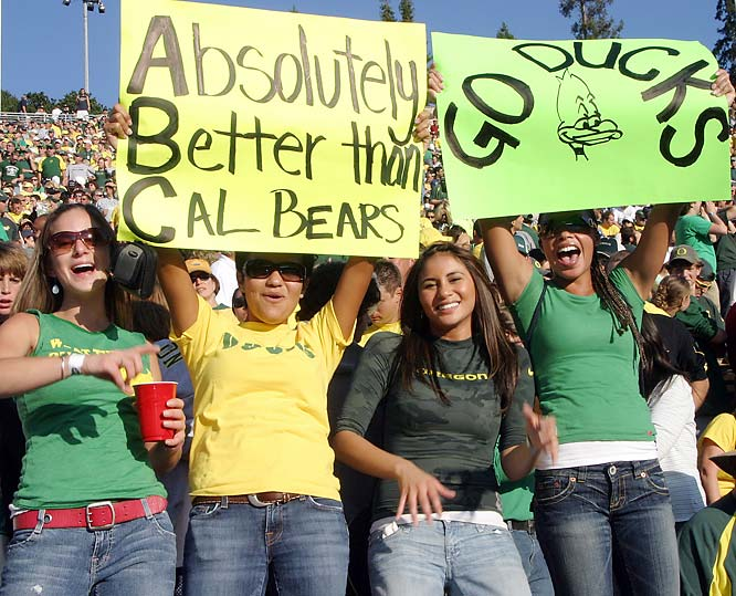 After beating Oregon 45-24, Cal's football team proved to be absolutely better than the Ducks (despite what this sign says).