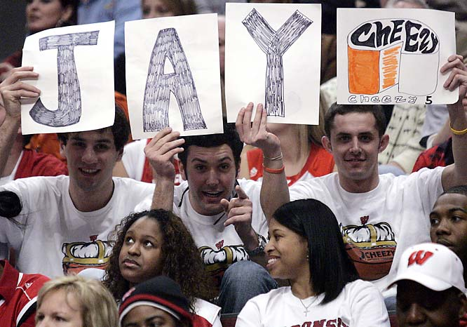 "The Jason ""Jay Cheezy 5"" Chappell Fan Club was out in full force during Wisconsin's Big Ten Tournament game against Illinois."