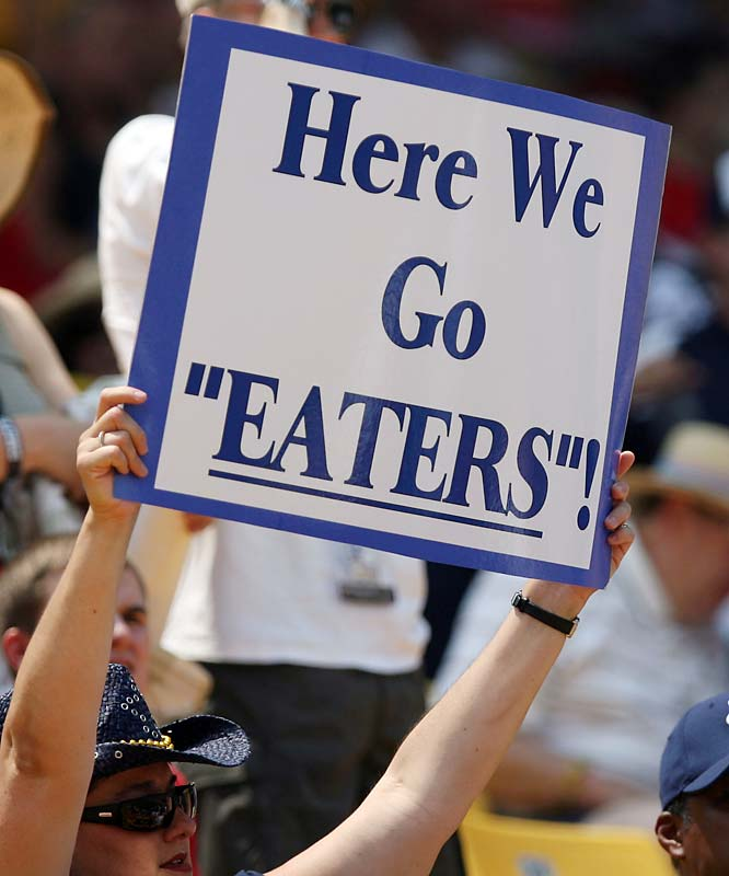 No, this isn't a sign for the Nathan's Hot Dog Eating Contest, instead it's a UC-Irvine fan cheering on the Anteaters during the College World Series.