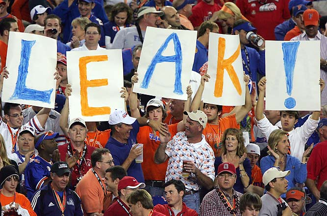 Not the most creative sign from these Gator fans, but when your quarterback leads his team to the national championship as Chris Leak did, it's OK to be uncreative.