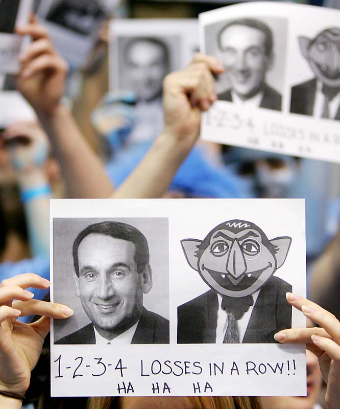 North Carolina fans showed their love for Mike Krzyzewski -- whose Blue Devils were in the midst of a four-game losing streak -- when the two teams faced off last March.