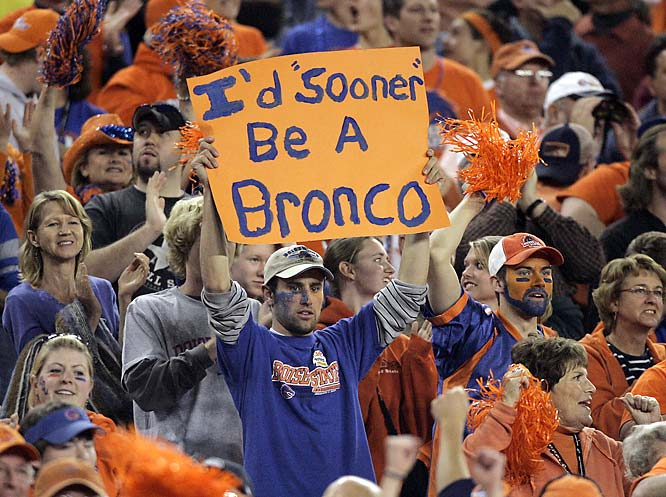 This Boise State student took a shot at Oklahoma fans when the two teams squared off in the Fiesta Bowl.
