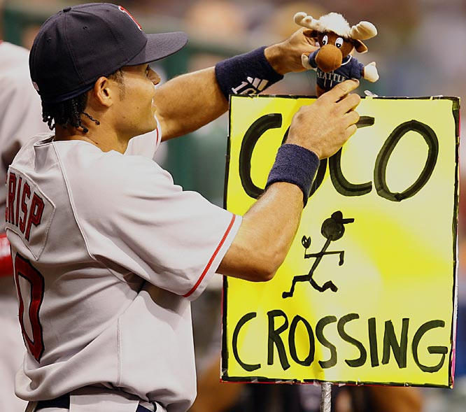 Coco Crisp, who was run over by the Mariner Moose a couple of weeks ago, still hasn't gotten over the incident.