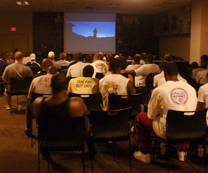 "Georgia Tech players held an inspirational ""Team Time"" series, which was broken down into four themed quarters. They watched <i>The Last Samurai</i> to drive home the point of the last quarter, which was ""Finishing the job."""