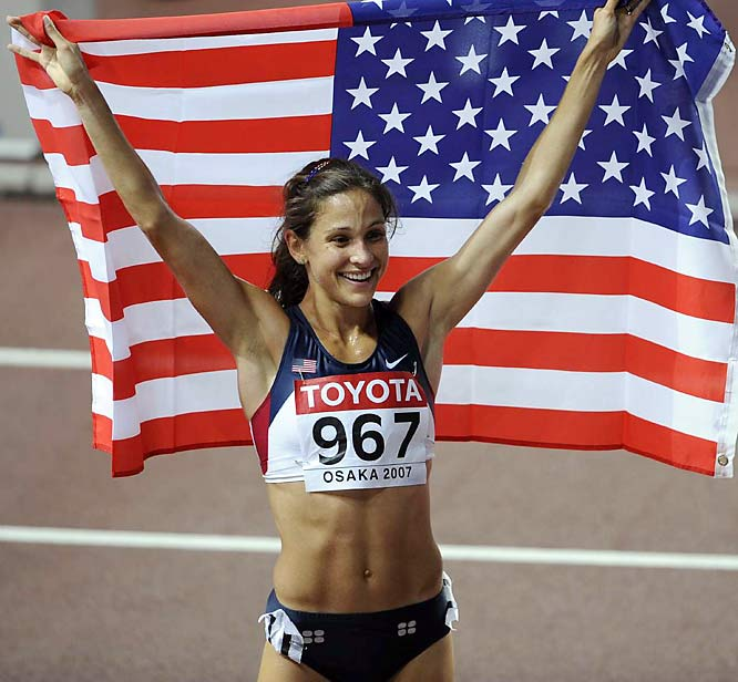 Kara Goucher celebrated after winning the bronze in the 10,000 on Day 1.
