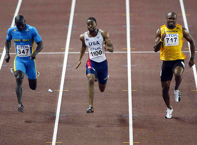 Derrick Atkins (347) took silver and Asafa Powell got the bronze behind a victorious Tyson Gay in the 100.