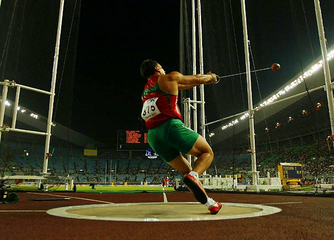 Ivan Tsikhan of Belarus won the hammer throw on Day 3.