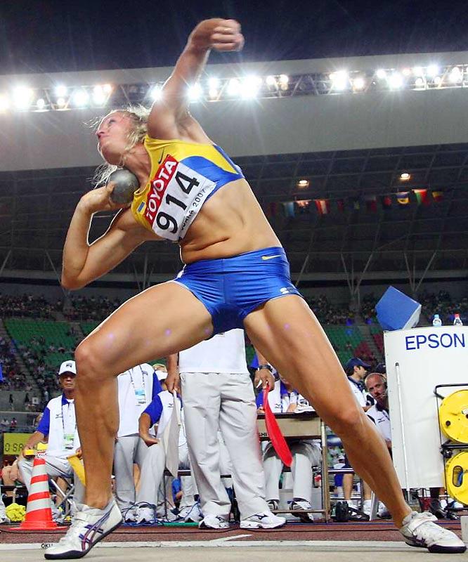 Nataliya Dobrynska of the Ukraine during the heptathlon on Day 1.