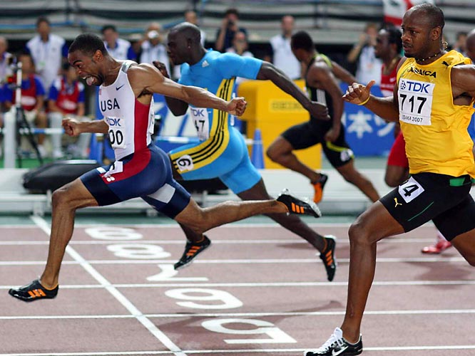 Tyson Gay (USA) won the gold in the men's 100-meter final on Day 2.