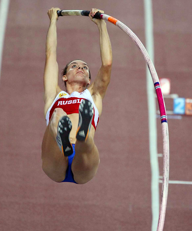Isinbayeva vaulted 4.80 meters.
