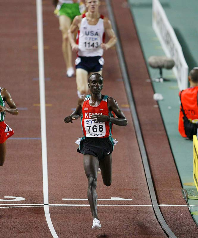 Kenya's Eliud Kipchoge led all runners in the second heat of the Men's 5,000-m.