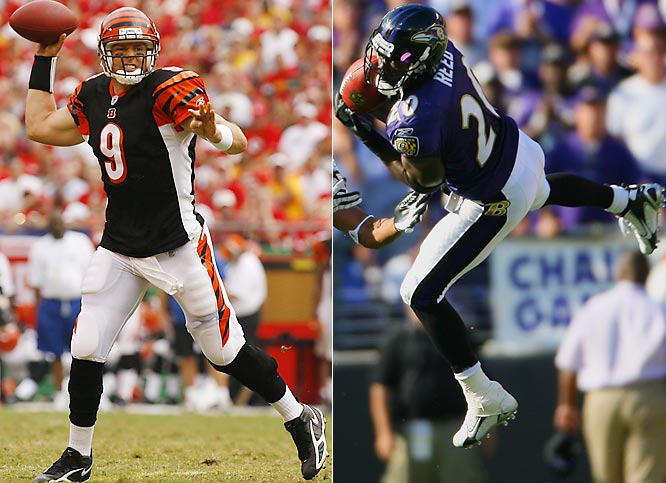 "Week 1 - September 10<br><br>In 2004, Palmer's first year as an NFL starter, he threw for 698 yards and three touchdowns in a two-game split with the AFC North--rival Ravens. He also threw four interceptions, three of which landed in the hands of Reed, the Ravens' two-time All-Pro. The following year Reed missed both Bengals games with an ankle injury, and Palmer threw five TDs against just one pick in two victories. Last year the two played each other even. ""You have to know where he is at all times,"" Palmer says of Reed. ""You have to play a chess match with him."" And a rematch, too: Palmer and Reed will meet again in Week 10, in what's sure to be a tight division race."