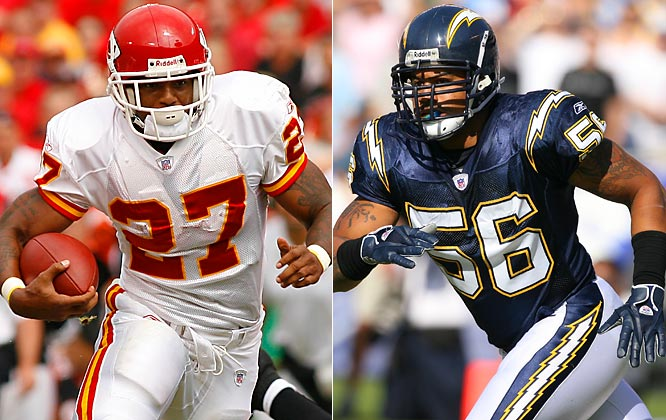 Week 4 - September 30<br><br>The legends of Johnson and Merriman each date to a ferocious hit on Oct. 30, 2005. Merriman, then a Chargers rookie, laid out Chiefs running back Priest Holmes, giving LJ, then languishing in Dick Vermeil's doghouse, his chance. Over the next nine games Johnson rushed for 16 TDs; Merriman, meanwhile, was named defensive rookie of the year. Since then, Johnson has done some of his best work versus the stout Chargers, averaging 116 yards and a TD. He'd be even better in those games if not for Merriman. In three head-to-head matchups, Merriman has ridden Johnson to the ground 15 times. Rematch: Week 13.