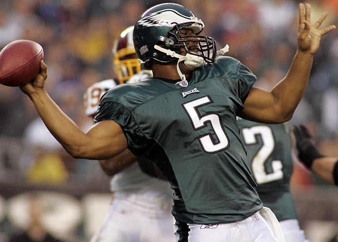 The Eagles drafted quarterback Kevin Kolb in the second round to hedge their bets in case McNabb can't stay healthy. No one's debating McNabb's talent when he's on the field, but he's missed significant chunks of the last two seasons. McNabb looks great in camp, but he'll have to prove he can take the wear and tear of a whole season.
