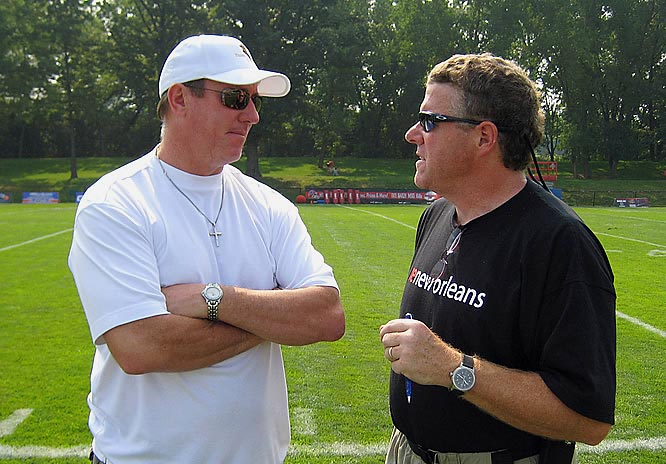 On the sidelines at Bills camp with Jim Kelly in Pittsford, N.Y., discussing Buffalo's chances in 2007.