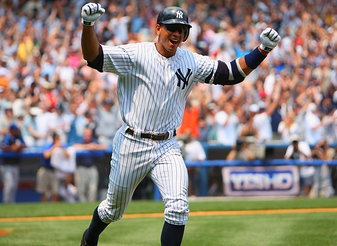 Alex Rodriguez became the youngest player in major league history to hit 500 home runs, connecting on the first pitch he saw Saturday from Royals starter Kyle Davies. The Yankees won 16-8.