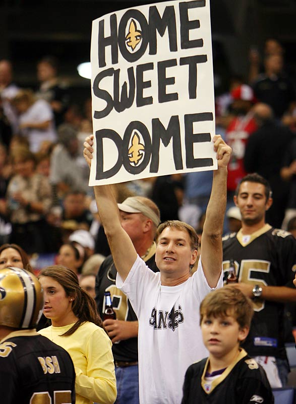 The game against the Falcons was the Saints' first at the Superdome since Hurricane Katrina.