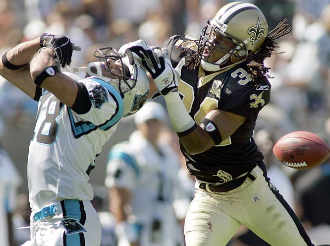 A week after their emotional return to New Orleans, the Saints were due for a letdown. Even with Mike McKenzie's (34) defensive help, they lost to the Panthers 21-18.