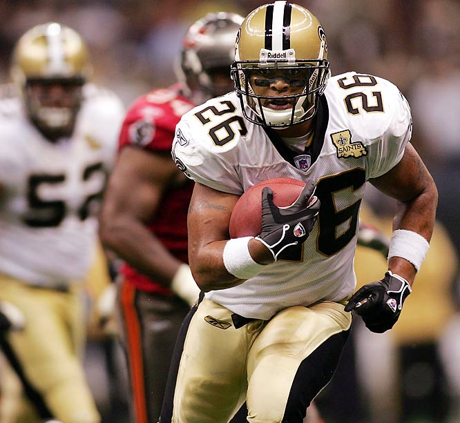 Deuce McAllister was the top rusher of the game with 123 yards. The Saints beat the Buccaneers 24-21.