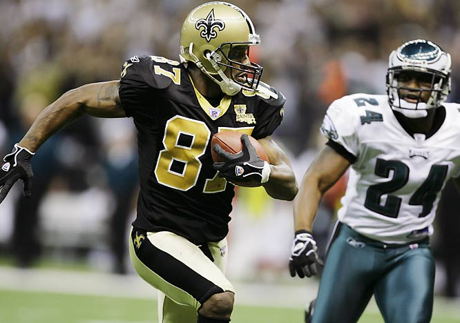 Wideout Joe Horn scores his second touchdown in a 27-24 victory over the Eagles.