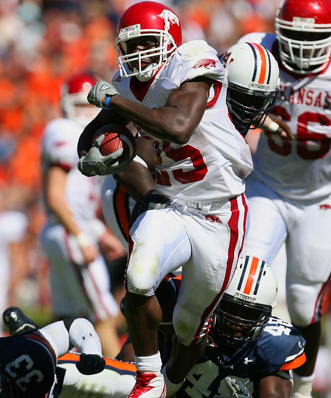 Overshadowed by superstar teammate Darren McFadden, Jones quietly rushed for 1,168 yards and six touchdowns with an astounding 7.6 yards per carry average in 2006. He joins McFadden on the preseason first team All-SEC.
