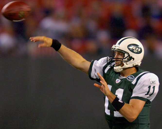 Kellen Clemens completed 16 of 23 passes for three touchdowns and no interceptions in a 31-16 Jets win. Clemens' solid play has to make New York feel better about starter Chad Pennington's shaky health history.