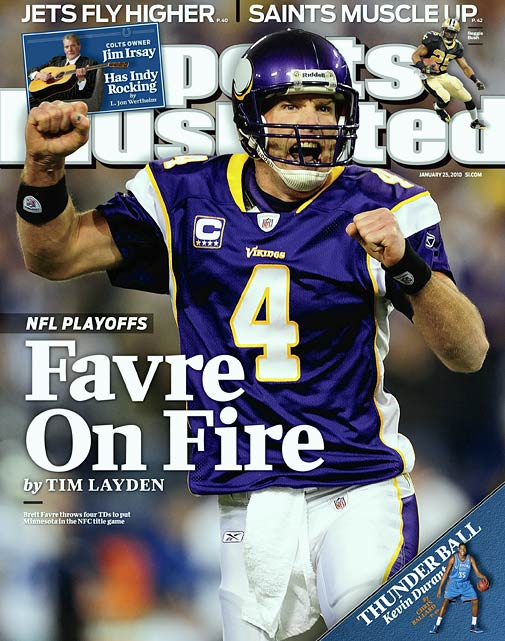 In 2009, Favre signed with the Vikings, further driving a divide between himself and the Packers fanbase that revered him. Favre went on to have one of the best statistical seasons of his career, throwing 33 touchdown passes and only seven interceptions. He led Minnesota to a 12-4 record and to the NFC Championship Game.