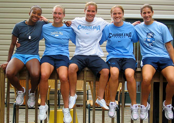 Tucked away among the cozy houses on Church Street, just blocks from the Chapel Hill campus, is the home of five of the top athletes at Carolina ... but you probably don't even know their names (yet).  Owners of an ACC Title (for a few, two) and an NCAA title (just one of the program's record 18), these barely-post-teens have opened their doors to SI on Campus for an exclusive look at their Tar Heel soccer digs.  Say hello to (left to right) Nikki Washington, Whitney Engen, Ashlyn Harris, Sterling Smith and Yael Averbuch -- members of the UNC women's soccer team.