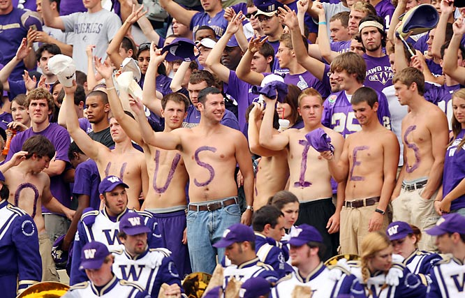 "Despite the support of these Washington fans (and their  unhappy ""S""), the Huskies fell to Ohio State, 33-14."