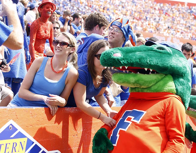 Albert the Alligator makes some friends during halftime of the Gators' matchup against SEC rival Tennessee.