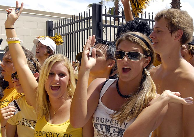 Central Florida fans wait for the gates to open at the new Bright House Networks Stadium for Saturday's matchup against Texas.
