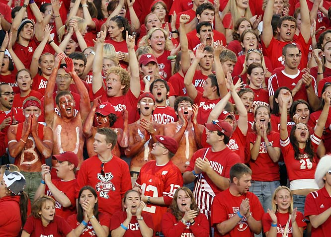 Wisconsin fans form a sea of red during the Badgers' 17-13 victory over Iowa at Camp Randall Stadium on Saturday.