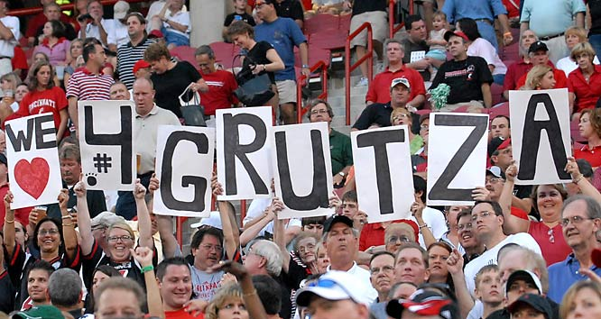 Cincinnati quarterback Dustin Grutza brought his fan club to Saturday's game against Marshall.