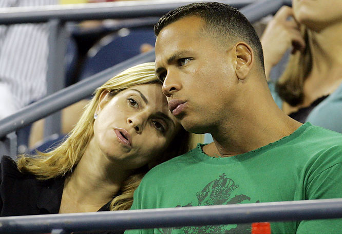 Alex Rodriguez's wife, Cynthia, stayed close to the slugger's side at a night session of the U.S. Open.