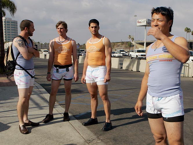 This has to be the highlight of the Devil Rays' season: Rookies from left, Jeff Ridgway, Josh Wilson, Justin Ruggiano and Akinori Iwamura pose in Hooters outfits as part of a hazing ritual.