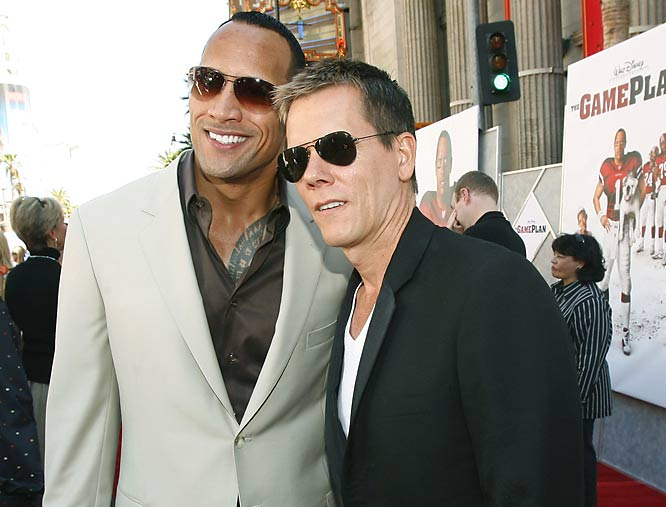 "Dwayne 'The Rock' Johnson, who stars with Kyra Sedgwick in ""The Game Plan,"" is now separated from Kevin Bacon by just two degrees."