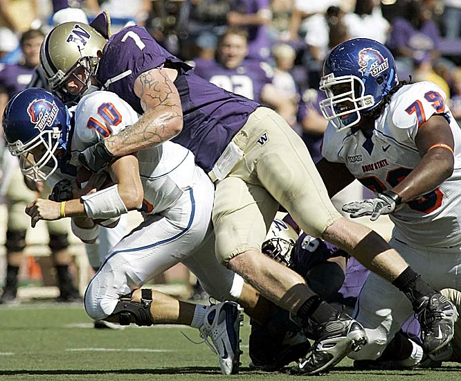 Boise State quarterback Taylor Tharp is sacked by Washington's Greyson Gunheim. Boise State was held to its lowest point total since a 17-7 loss to Fresno State on Nov. 10, 2005