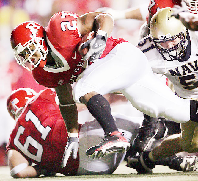 Ray Rice pounded his way for 175 yards and scored three touchdowns as Rutgers cruised past Navy on Friday night.
