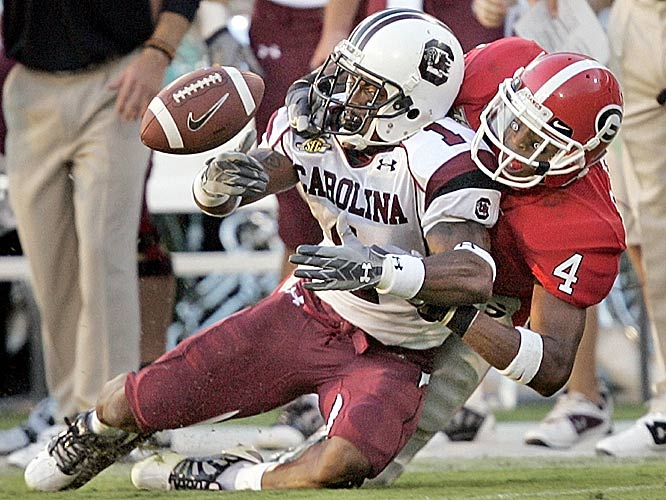 Captain Munnerlyn breaks up a pass intended for Georgia wide receiver Sean Bailey during South Carolina's hard-fought win.