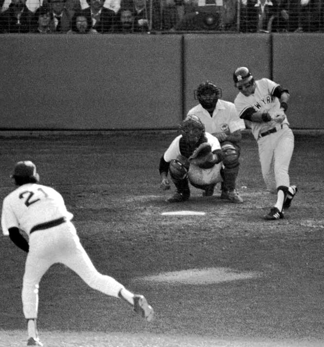 With a fierce wind blowing out to left field at Fenway Park, the Yankees' Bucky Dent swatted a hanging breaking ball from Mike Torrez over the Green Monster to give the Yankees a 3-2 lead in the 1978 AL East division playoff game. The Yankees went on to win the game 5-4 and the division title.