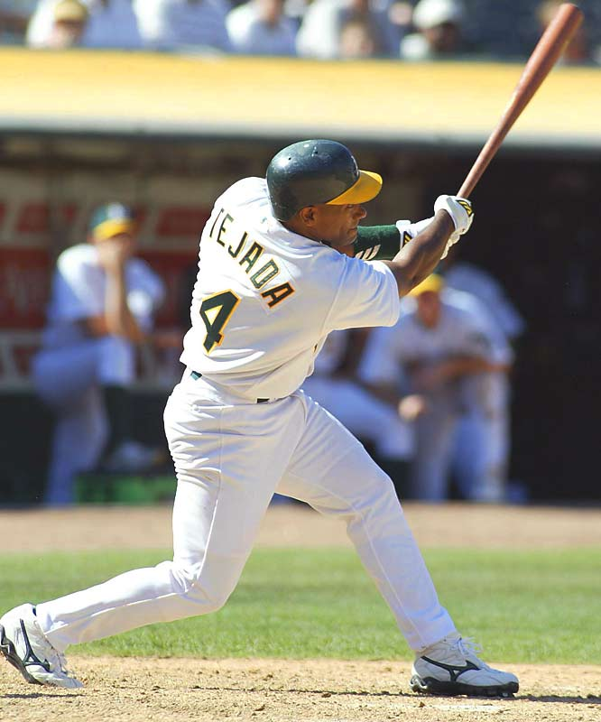 Miguel Tejada won AL MVP honors in 2002 after leading the A's to their second AL West title in three years. Oakland's September included an American League record 20-game win streak, a stretch during which Miggi had the game-winning, walk-off hits in the 18th and 19th game of the run.